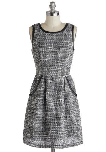 Theater Lobby Dress by Tulle Clothing - Grey, Black, Pockets, Trim, Work, A-line, Sleeveless, Scoop, Short, Woven, Fall