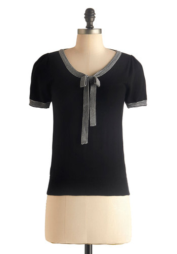 Barista in the City Top in Black - Mid-length, Black, White, Solid, Tie Neck, Work, Short Sleeves, Trim, Daytime Party, Film Noir, French / Victorian, Variation, Scoop, Black, Short Sleeve