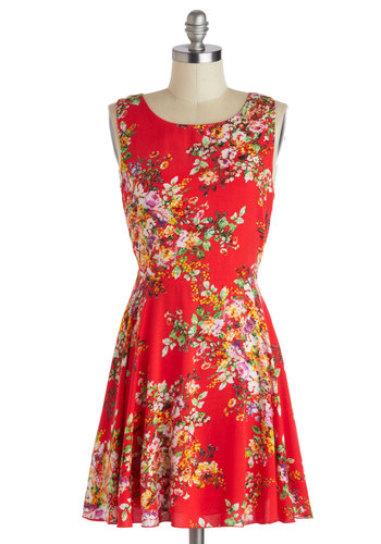Picnic Brunch Dress - Short, Red, Multi, Floral, Backless, A-line, Sleeveless, Scoop, Casual
