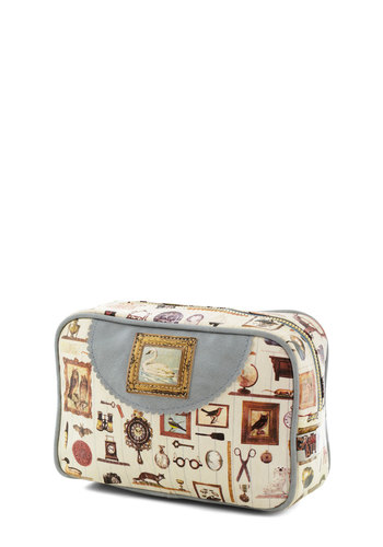 Treasured Antiques Makeup Bag - Faux Leather, Multi, Vintage Inspired, Travel, Boudoir, Better
