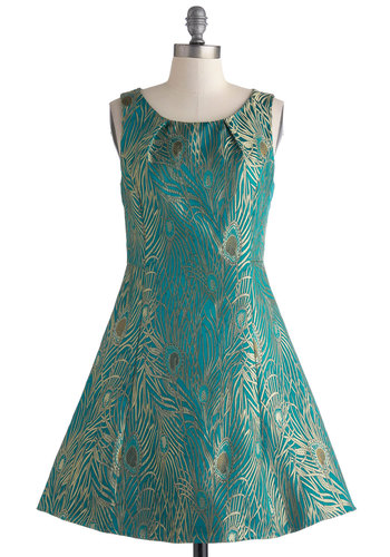 Aviary Engagement Dress - Mid-length, Green, Gold, Print, Party, Fit & Flare, Sleeveless, Scoop, Animal Print, Cocktail