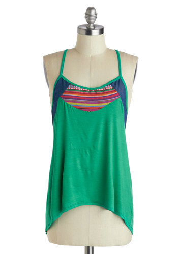 Beats the Heat Top - Green, Casual, Spaghetti Straps, Racerback, Multi, Boho, High-Low Hem, Summer, Jersey, Mid-length