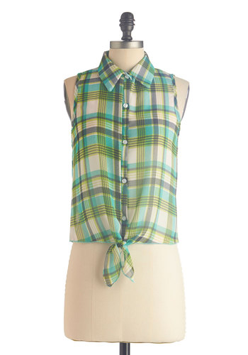 Bluegrass Fest Fun Top - Green, Tan / Cream, Plaid, Buttons, Casual, Sleeveless, Collared, Short, Button Down, Summer, Sheer