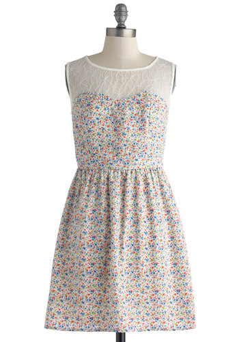 Wildflower Rambling Dress - Sheer, Short, Multi, Floral, Lace, Party, A-line, Sleeveless, Scoop, Daytime Party, Spring, Summer