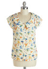 Ornithology Whiz Top by Bettie Page - Mid-length, White, Yellow, Blue, Print with Animals, Buttons, Peter Pan Collar, Work, Short Sleeves, Multi, Vintage Inspired, 40s, 50s, 60s, Button Down, Spring, Summer, Collared, Multi, Short Sleeve