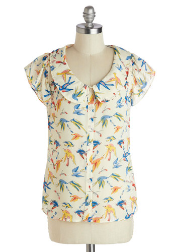 Ornithology Whiz Top - Mid-length, White, Yellow, Blue, Print with Animals, Buttons, Peter Pan Collar, Work, Short Sleeves, Multi, Vintage Inspired, 40s, 50s, 60s, Button Down, Spring, Collared, Multi, Short Sleeve, Bird, Woodland Creature