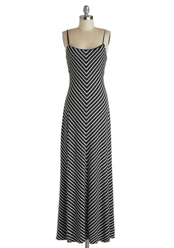 Extra Points Dress in Black - Long, Black, White, Stripes, Casual, Maxi, Spaghetti Straps, Scoop, Summer