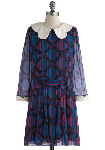 Anna Sui Make It Quirk Dress - Print, Collared, Blue, Red, Black, Shift, Long Sleeve, Scallops, 60s, Vintage Inspired, Best, Mid-length, Chiffon, Woven, Sheer, White, Peter Pan Collar, Mod, Fall, Work, Winter, 90s
