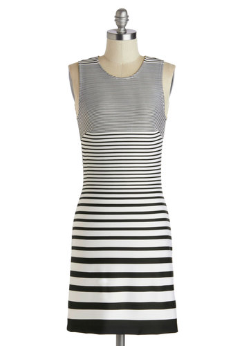 First in Line Dress - Short, Black, Stripes, Girls Night Out, Bodycon / Bandage, Scoop, White, Sleeveless, Casual