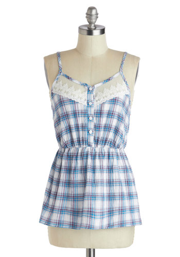Pie for Breakfast Top - Blue, Purple, White, Plaid, Casual, Spaghetti Straps, Cotton, Sheer, Mid-length, Buttons, Lace