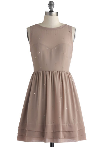 Swish Upon a Star Dress - Tan, Solid, Studs, Party, A-line, Sleeveless, Backless, Short, Chiffon, Sheer, Knit