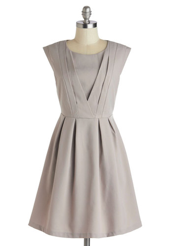 Early to Work Dress - Mid-length, Tan, Solid, Pleats, Work, A-line, Cap Sleeves, Scoop, Exposed zipper