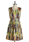 Dance and Entrance Dress - Mid-length, Multi, Print, Casual, A-line, Sleeveless, Scoop, Summer