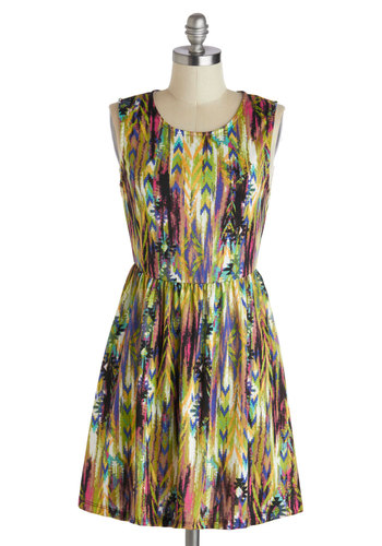 Dance and Entrance Dress - Mid-length, Multi, Print, Casual, A-line, Sleeveless, Scoop, Summer, Statement