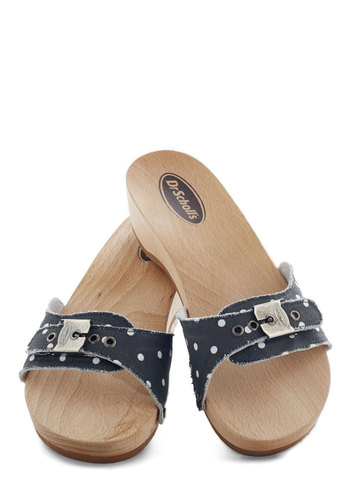 Dr. Scholl's Maritime to Shine Sandal in Navy and White by Dr. Scholl's - Blue, White, Polka Dots, Buckles, Vintage Inspired, 80s, Low, Leather, Suede, Casual, Summer