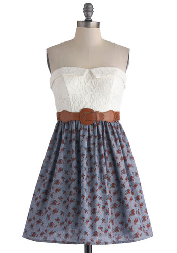 Countryside Cachet Dress - Cotton, Blue, White, Multi, Floral, Lace, Belted, Casual, A-line, Strapless, Sweetheart