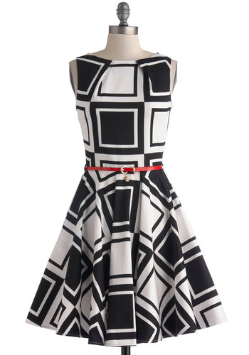 Luck Be a Lady Dress in Dice - Mid-length, Black, White, Print, Belted, Party, Fit & Flare, Sleeveless, Pockets, Cotton, Variation, Boat, Basic, Top Rated