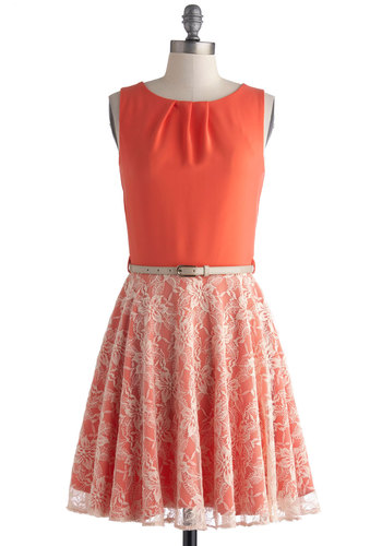 Attuned to Timeless Dress - Mid-length, Orange, White, Lace, Belted, Party, A-line, Sleeveless, Scoop, Exposed zipper, Wedding