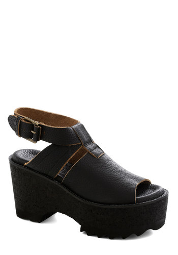 Well Tread Wedge - Black, Solid, Cutout, Platform, Wedge, Peep Toe, Mid, Leather, Best