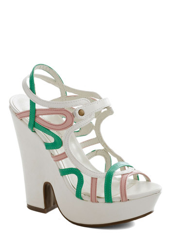 Rollercoaster of Lovely Heels - White, Green, Pink, Solid, High, Platform, Party, Girls Night Out, Statement, Summer, Faux Leather