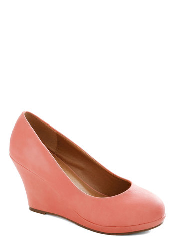 You Mean Business Wedge - Coral, Solid, Work, Platform, Wedge, Mid, Pastel, Minimal, Faux Leather