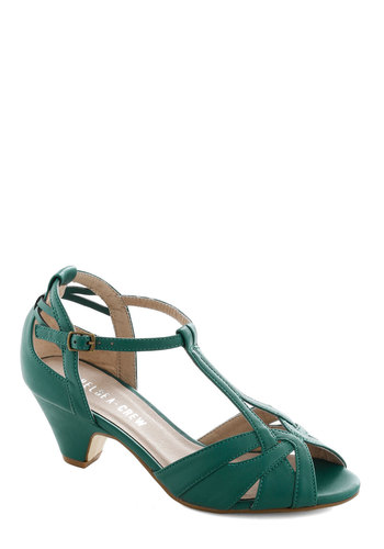 Architectural Tour Heel in Teal by Chelsea Crew - Mid, Green, Solid, Cutout, Wedding, Party, Bridesmaid, Vintage Inspired, 20s, 30s, 40s, Faux Leather, Better, T-Strap, Peep Toe