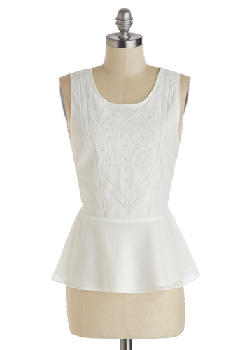 Invisible Ink Top - Solid, Embroidery, Daytime Party, Peplum, Sleeveless, Mid-length, White, Work, Scoop, White, Sleeveless