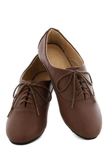 The Root of Cute Flat - Solid, Flat, Lace Up, Brown, Casual, Menswear Inspired, Faux Leather, Top Rated