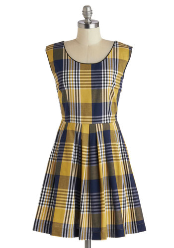 Scholars Summit Dress - Cotton, Yellow, Blue, Plaid, Pockets, Casual, A-line, Sleeveless, Scoop, Mid-length, Scholastic/Collegiate, Fall, Exclusives