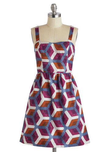 Hexagon for the Weekend Dress - Cotton, Mid-length, Multi, Print, Pockets, Casual, A-line, Spaghetti Straps, Sweetheart, Orange, Blue, Purple, White