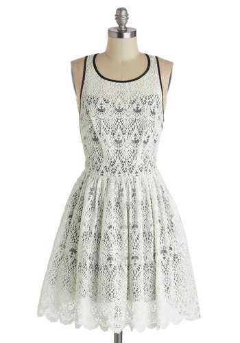 Ballet Benefactor Dress - Mid-length, White, Black, Solid, Lace, Scallops, A-line, Scoop, Trim, Cocktail, Sleeveless, Sheer, Wedding, Daytime Party, Graduation, Bride