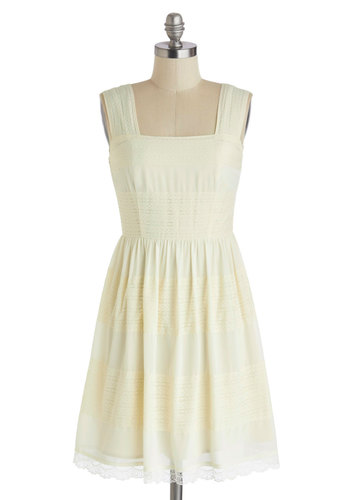 Age of Ethereal Dress - Mid-length, Cream, Solid, Crochet, A-line, Lace, Graduation, Sleeveless, Spring, Summer, Daytime Party