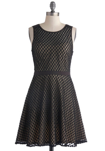 Nearly Nightfall Dress - Sheer, Mid-length, Tan / Cream, Party, A-line, Sleeveless, Scoop, Black, Print, Wedding, Cocktail