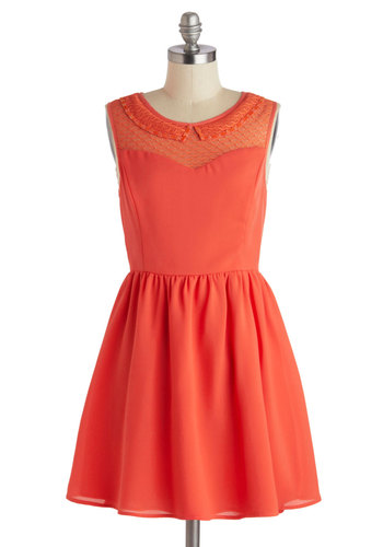 Outdoor Dinner Date Dress - Short, Coral, Solid, Crochet, Peter Pan Collar, Party, A-line, Sleeveless, Scoop, Sheer