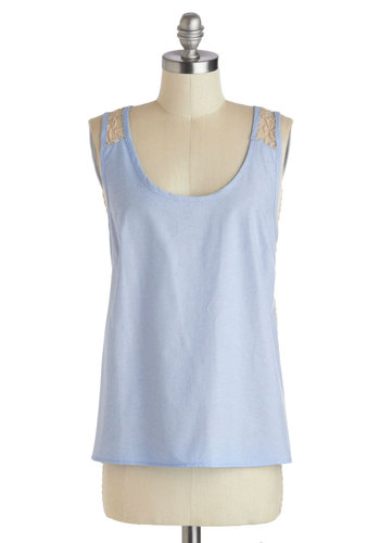 Chambray Okay! Top - Cotton, Mid-length, Blue, Tan / Cream, Solid, Lace, Casual, Sleeveless, Pastel, Summer, Sheer, Scoop