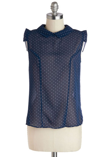 Isn't She Bubbly? Top in Navy - Blue, White, Polka Dots, Short Sleeves, Collared, Mid-length, Peter Pan Collar, Work, Variation, Sheer, Blue, Sleeveless