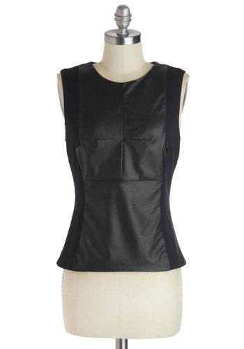 Panel Praise Top - Faux Leather, Short, Black, Solid, Party, Girls Night Out, Sleeveless, Urban, Fall