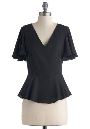 Fits the Frill Top by BB Dakota - Black, Solid, Work, Peplum, Short Sleeves, Mid-length, Cutout, Party, V Neck