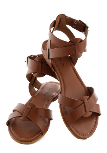 Reach the Sky Sandal in Trail - Summer, Flat, Brown, Solid