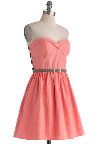 Catch You Ladder Dress - Cotton, Solid, Cutout, Belted, A-line, Strapless, Sweetheart, Pink, Black, Party, Girls Night Out, Summer