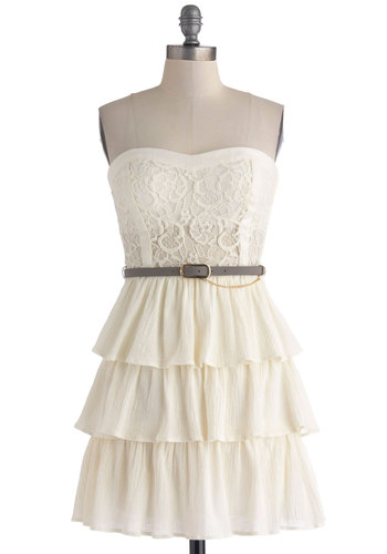 Dressed to Beguile Dress - Cotton, Sheer, Short, Solid, Lace, Ruffles, Tiered, Belted, Party, Shift, Strapless, Sweetheart, Cream, Daytime Party, Graduation, Summer