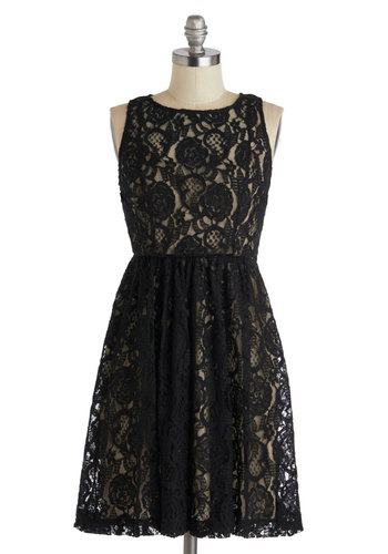 Plenty by Tracy Reese Dinner with a Darling Dress by Plenty by Tracy Reese - Mid-length, Black, Tan / Cream, Cutout, Lace, Party, A-line, Sleeveless, Wedding, Cocktail, Bridesmaid, Sheer, Gifts Sale, Lace
