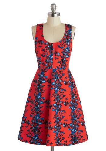 Plenty by Tracy Reese Saturated in Style Dress in Berry by Plenty by Tracy Reese - Long, Red, Blue, Floral, Party, A-line, Tank top (2 thick straps), Scoop, Spring, Summer, Statement