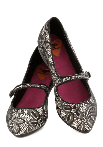 Graceful Gait Flat - Black, Tan / Cream, Print, Lace, Flat, Good, Party, Daytime Party, Mary Jane, Top Rated