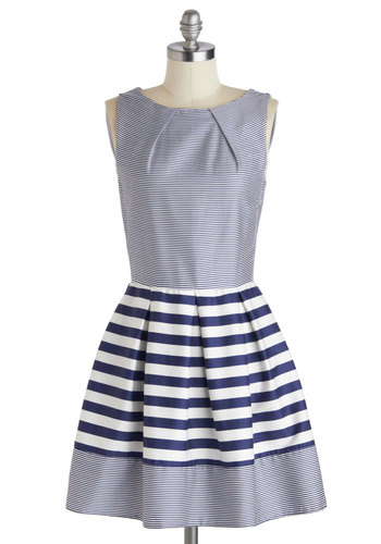 Shoreline Soiree Dress in Stripes - Cotton, Mid-length, Blue, White, Stripes, Pockets, Party, Sleeveless, Exposed zipper, Wedding, Daytime Party, Nautical, Fit & Flare, Summer, Variation