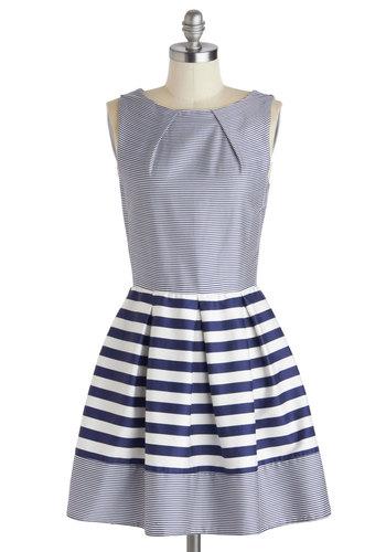 Shoreline Soiree Dress in Stripes