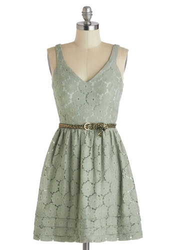 Natural Elements Dress - Green, Solid, Lace, Belted, Casual, A-line, Spaghetti Straps, V Neck, Daytime Party