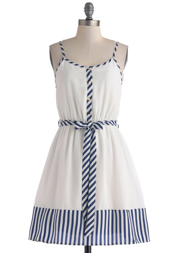Lily of the Galley Dress - Mid-length, White, Blue, Stripes, Buttons, Belted, Casual, Nautical, A-line, Spaghetti Straps, Scoop, Trim