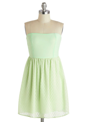 Lime Spritzer Dress - Short, Green, Solid, Pastel, Empire, Strapless, Daytime Party, Summer