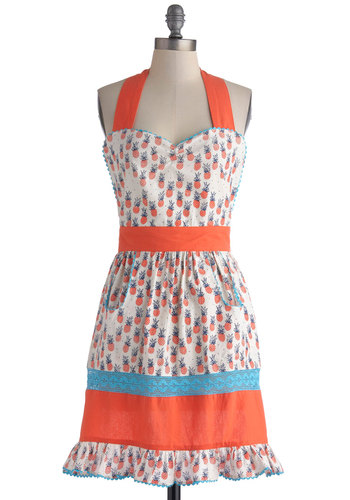 Tropic Like It's Hot Apron - Orange, Fruits, Blue, White, Novelty Print, Pockets, Vintage Inspired, Mid-Century, Cotton, Better